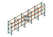 Voordeelrij Nedcon Palletstelling 3000x9605x1100mm hxbxd CC09040/0806720 5secties 3niveaus 2300kg/niv