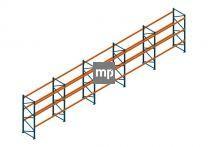 Voordeelrij Nedcon Palletstelling 3000x13980x1100mm hxbxd CC11040/0806720 5secties 3niveaus 2300kg/niv