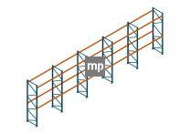 Voordeelrij Nedcon Palletstelling 4000x14100x1100mm hxbxd CC13040/1006820 5secties 2niveaus 3150kg/niv