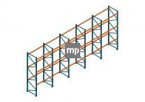 Voordeelrij Nedcon Palletstelling 4000x9725x1100mm hxbxd CC09040/1006820 5secties 3niveaus 2750kg/niv
