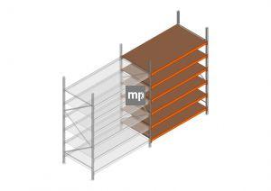 Aanbouwsectie MP 2500x1850x1000mm hxbxd 6 niveaus Metaal/Hout RAL2004/Verzinkt 400kg