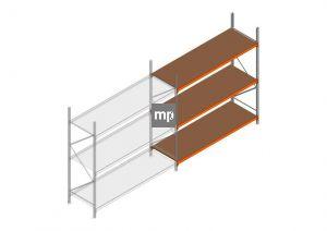 Aanbouwsectie MP 2500x2400x800mm hxbxd 3 niveaus Metaal/Hout RAL2004/Verzinkt 265kg