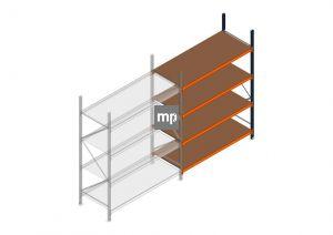 Aanbouwsectie MP 2500x1850x800mm hxbxd 4 niveaus Metaal/Hout RAL2004/5003/Verzinkt 400kg
