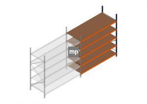 Aanbouwsectie MP 2500x2400x1000mm hxbxd 5 niveaus Metaal/Hout RAL2004/5003/Verzinkt 265kg