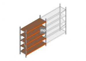 Grootvakstelling MP 2250x1850x600mm hxbxd 5 niveaus Metaal/Hout RAL2004/Verzinkt 400kg