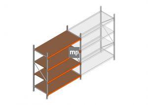 Beginsectie MP 2250x1850x800mm hxbxd 4 niveaus Metaal/Hout RAL2004/Verzinkt 400kg