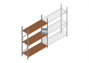 Grootvakstelling MP 2500x1850x600mm hxbxd 3 niveaus Metaal/Hout RAL2004/Verzinkt 400kg