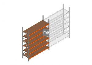 Grootvakstelling MP 2500x1850x600mm hxbxd 6 niveaus Metaal/Hout RAL2004/Verzinkt 400kg