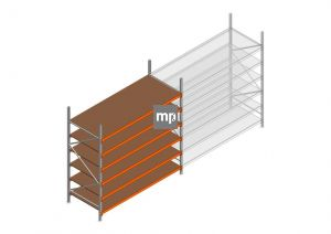 Beginsectie MP 2500x2400x1000mm hxbxd 6 niveaus Metaal/Hout RAL2004/Verzinkt 265kg