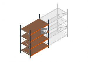 Beginsectie MP 2500x1850x1000mm hxbxd 4 niveaus Metaal/Hout RAL2004/5003/Verzinkt 400kg