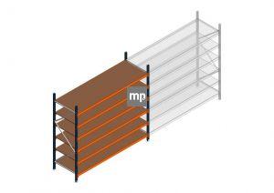 Grootvakstelling MP 2250x2400x800mm hxbxd 6 niveaus Metaal/Hout RAL2004/5003/Verzinkt 265kg