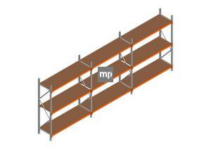 Voordeelrij MP Grootvakstelling 2250x5750x600 hxbxd 3 niveaus Metaal/Hout RAL2004/Verzinkt 400kg