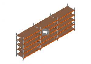 Voordeelrij MP Grootvakstelling 2250x5750x800 hxbxd 5 niveaus Metaal/Hout RAL2004/Verzinkt 400kg