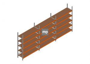 Voordeelrij MP Grootvakstelling 2500x5750x600 hxbxd 5 niveaus Metaal/Hout RAL2004/Verzinkt 400kg