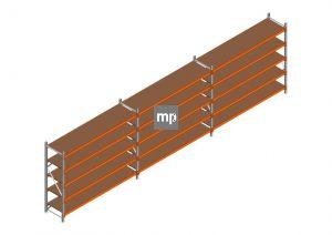 Voordeelrij MP Grootvakstelling 2000x7400x600 hxbxd 5 niveaus Metaal/Hout RAL2004/Verzinkt 265kg