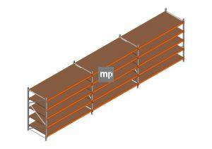 Voordeelrij MP Grootvakstelling 2000x7400x1000 hxbxd 5 niveaus Metaal/Hout RAL2004/Verzinkt 265kg