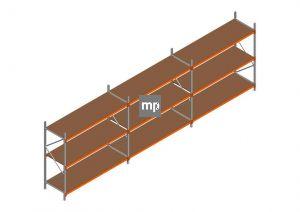 Voordeelrij MP Grootvakstelling 2250x7400x800 hxbxd 3 niveaus Metaal/Hout RAL2004/Verzinkt 265kg