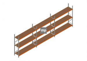 Voordeelrij MP Grootvakstelling 2500x7400x600 hxbxd 3 niveaus Metaal/Hout RAL2004/Verzinkt 265kg