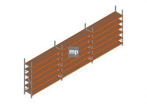 Voordeelrij MP Grootvakstelling 2500x7400x600 hxbxd 6 niveaus Metaal/Hout RAL2004/Verzinkt 265kg