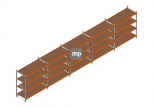 Voordeelrij MP Grootvakstelling 2000x9550x800 hxbxd 4 niveaus Metaal/Hout RAL2004/Verzinkt 400kg