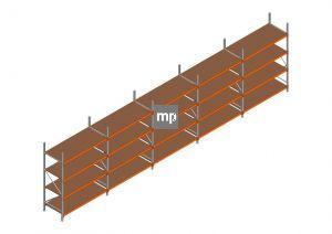 Voordeelrij MP Grootvakstelling 2500x9550x800 hxbxd 4 niveaus Metaal/Hout RAL2004/Verzinkt 400kg