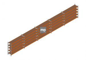 Voordeelrij MP Grootvakstelling 2000x12300x600 hxbxd 5 niveaus Metaal/Hout RAL2004/Verzinkt 265kg