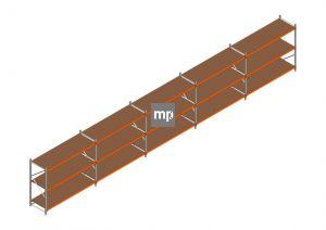 Voordeelrij MP Grootvakstelling 2000x12300x800 hxbxd 3 niveaus Metaal/Hout RAL2004/Verzinkt 265kg