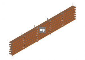 Voordeelrij MP Grootvakstelling 2500x12300x600 hxbxd 6 niveaus Metaal/Hout RAL2004/Verzinkt 265kg