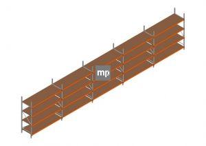 Voordeelrij MP Grootvakstelling 2500x12300x800 hxbxd 4 niveaus Metaal/Hout RAL2004/Verzinkt 265kg