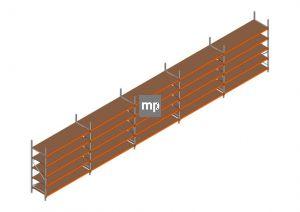 Voordeelrij MP Grootvakstelling 2500x12300x800 hxbxd 5 niveaus Metaal/Hout RAL2004/Verzinkt 265kg