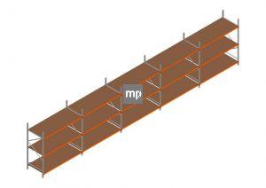 Voordeelrij MP Grootvakstelling 2500x12300x1000 hxbxd 3 niveaus Metaal/Hout RAL2004/Verzinkt 265kg