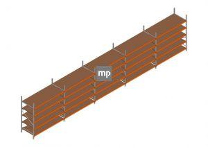 Voordeelrij MP Grootvakstelling 2500x12300x1000 hxbxd 5 niveaus Metaal/Hout RAL2004/Verzinkt 265kg