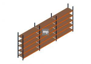 Voordeelrij MP Grootvakstelling 2500x5750x600 hxbxd 5 niveaus Metaal/Hout RAL2004/5003/Verzinkt 400kg