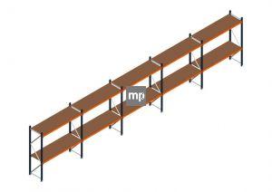 Voordeelrij MP Grootvakstelling 2000x9550x600 hxbxd 2 niveaus Metaal/Hout RAL2004/5003/Verzinkt 400kg