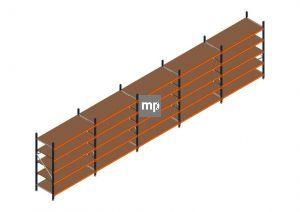 Voordeelrij MP Grootvakstelling 2250x9550x800 hxbxd 5 niveaus Metaal/Hout RAL2004/5003/Verzinkt 400kg