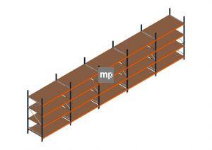 Voordeelrij MP Grootvakstelling 2500x9550x1000 hxbxd 4 niveaus Metaal/Hout RAL2004/5003/Verzinkt 400kg