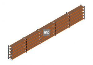 Voordeelrij MP Grootvakstelling 2000x12300x600 hxbxd 5 niveaus Metaal/Hout RAL2004/5003/Verzinkt 265kg