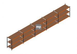 Voordeelrij MP Grootvakstelling 2000x12300x1000 hxbxd 3 niveaus Metaal/Hout RAL2004/5003/Verzinkt 265kg