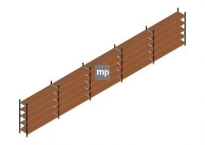 Voordeelrij MP Grootvakstelling 2250x12300x600 hxbxd 5 niveaus Metaal/Hout RAL2004/5003/Verzinkt 265kg