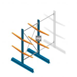 Draagarmstelling MP Dubbelzijdig 2000x1000x600mm (hxbxd) 2 niveaus 150kg