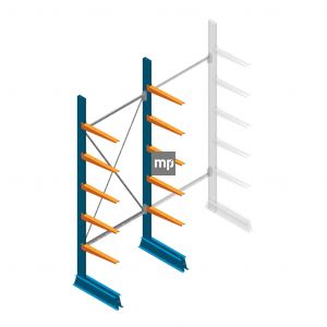 Draagarmstelling MP Enkelzijdig 2500x1000x500mm (hxbxd) 5 niveaus 150kg