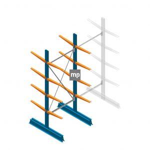 Beginsectie MP Draagarmstelling Dubbelzijdig 2500x1000x500mm (hxbxd) 4 niveaus