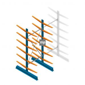 Draagarmstelling MP Dubbelzijdig 2500x1000x600mm (hxbxd) 6 niveaus 150kg