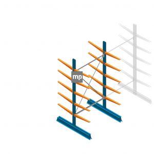 Draagarmstelling MP Dubbelzijdig 2500x1250x600mm (hxbxd) 5 niveaus 150kg