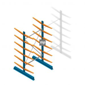 Draagarmstelling MP Dubbelzijdig 2500x1250x600mm (hxbxd) 6 niveaus 150kg
