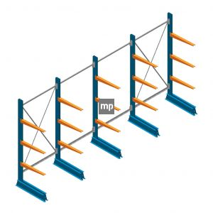 Voordeelrij MP Draagarmstelling Enkelzijdig 2000x4100x500mm (hxbxd) 3 niveaus 150kg