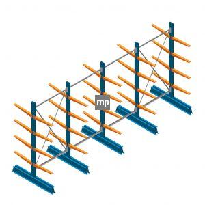 Voordeelrij MP Draagarmstelling Dubbelzijdig 2000x4100x500mm (hxbxd) 4 niveaus 150kg