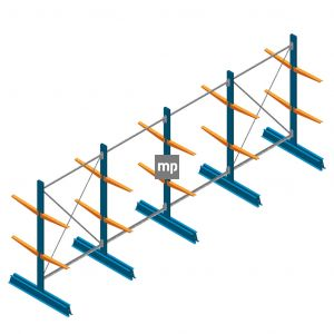 Voordeelrij MP Draagarmstelling Dubbelzijdig 2000x5100x500mm (hxbxd) 2 niveaus 150kg