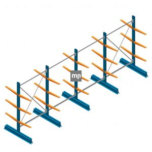 Voordeelrij MP Draagarmstelling Dubbelzijdig 2000x5100x500mm (hxbxd) 3 niveaus 150kg