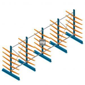Voordeelrij MP Draagarmstelling Dubbelzijdig 2000x5100x600mm (hxbxd) 5 niveaus 150kg